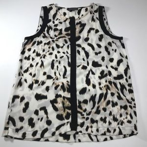 Vince Camuto Top Animal Print Black White XS